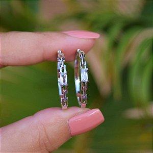 Brinco argola cristal ródio semijoia 20A04019