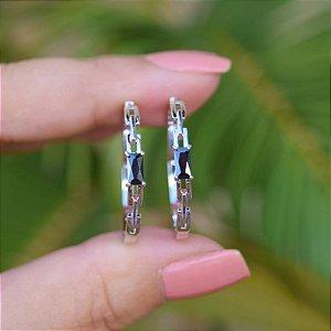 Brinco argola cristal preto ródio semijoia 20A04019