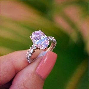 Anel solitário zircônia rosa prata 925