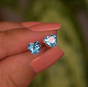 Brinco coração zircônia azul prata 925