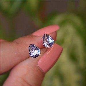 Brinco gota zircônia lilás prata 925