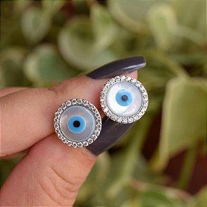 Brinco redondo olho grego zircônia ródio semijoia 19A10090