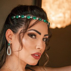 Tiara coroa noiva cristais verde ródio semijoia