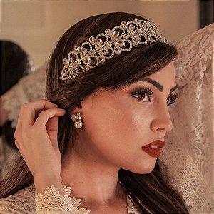 Tiara coroa noiva cristais gota ródio semijoia
