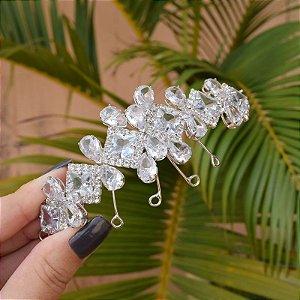 Tiara porta coque noiva cristais ródio semijoia