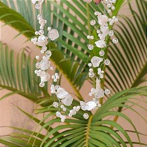 Tiara fio grinalda noiva flores com pérolas e cristais