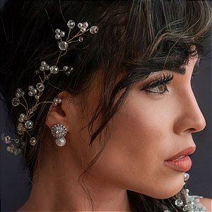 Tiara fio grinalda noiva pérolas e cristais