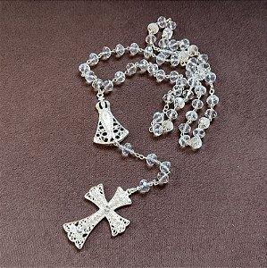 Terço de noiva Nossa Senhora Aparecida cristais ródio semijoia