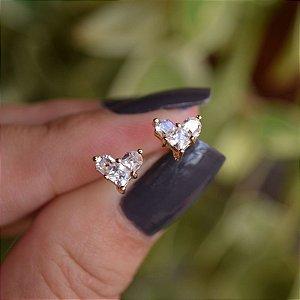 Brinco mini coração zircônia ouro semijoia 19K05040