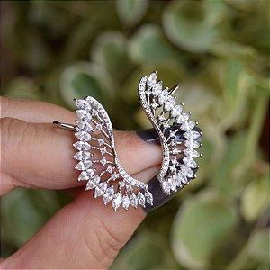 Brinco ear cuff asas zircônia ródio semijoia 19a04017