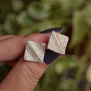 Brinco quadrado ondulado zircônia ouro semijoia 18K17050