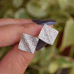 Brinco quadrado ondulado zircônia ródio semijoia 18K17050