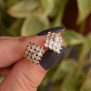 Brinco zircônia ouro semijoia 19k01046