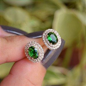 Brinco oval zircônia verde semijoia 15k08024