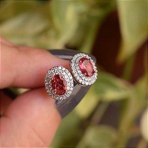 Brinco oval zircônia rosa ródio semijoia 15k08024