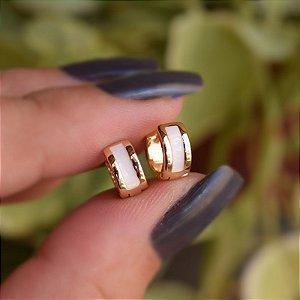 Brinco argolinha branco ouro semijoia 19a09030
