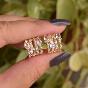 Piercing de encaixe par aros zircônia ouro semijoia 19k08025