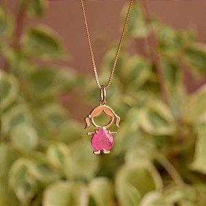Colar  menina coração cristal fusion pink ouro semijoia