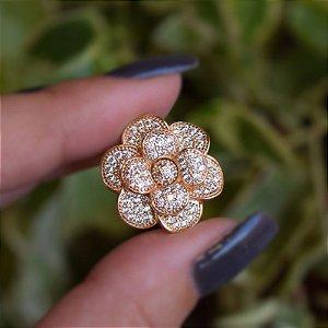 Broche flor zircônia ouro semijoia 18k15016