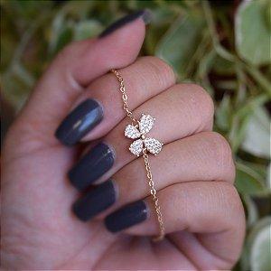 Pulseira borboleta zircônia ouro semijoia 18k11008