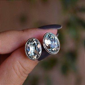 Brinco oval Leticia Sarabia cristal azul claro prateado