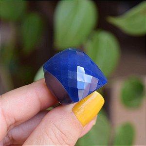 Anel pedra natural ágata azul semijoia