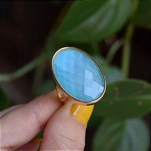 Anel redondo pedra natural madrepérola azul ouro semijoia