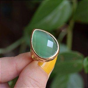 Anel gota pedra natural ágata verde ouro semijoia