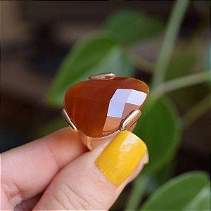 Anel gota pedra natural ágata vermelha ouro semijoia