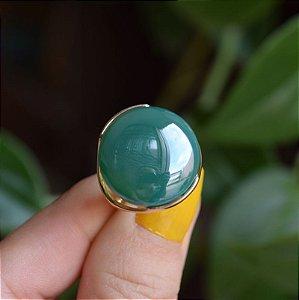 Anel redondo pedra natural ágata verde perolado ouro semijoia