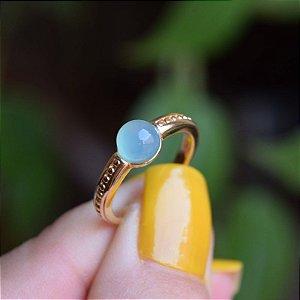 Anel pedra natural ágata azul céu ouro semijoia