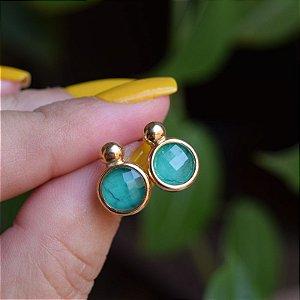 Brinco pedra natural esmeralda ouro semijoia