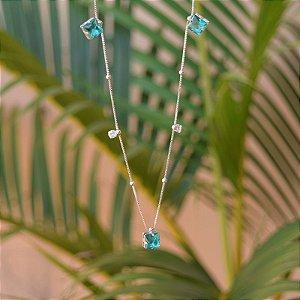 Colar cristal azul ródio semijoia