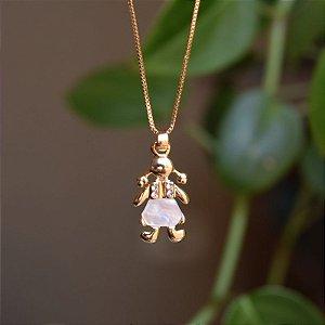 Colar menina madrepérola ouro semijoia