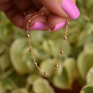 Pulseira infantil bolinhas ouro semijoia
