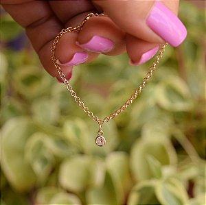 Pulseira infantil cristal ouro semijoia