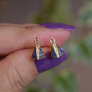 Brinco Nossa Senhora Aparecida zircônia azul ouro semijoia