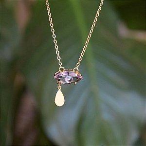 Colar olho grego cristal lilás ouro semijoia