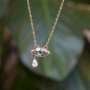 Colar olho grego cristal ouro semijoia