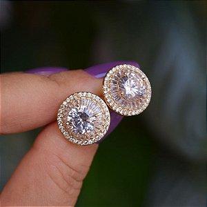 Brinco redondo zircônia cristal ouro semijoia 17k14031