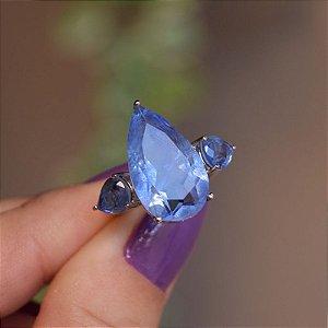 Anel gota cristal fusion azul ródio semijoia