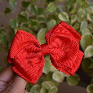 Presilha bico de pato infantil laço vermelho claro