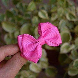 Presilha bico de pato infantil laço rosa pink