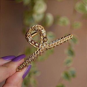 Piranha de cabelo metal corrente dourado