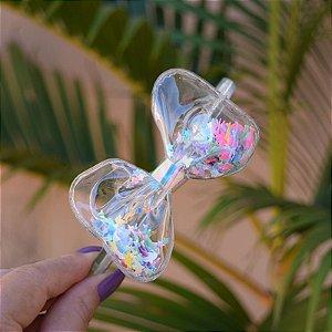 Tiara infantil laço transparente com glitters coloridos golfinhos