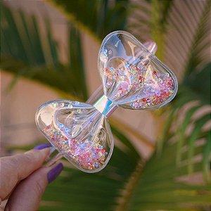 Tiara infantil laço transparente com cristais coloridos