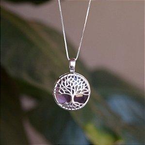 Colar árvore da vida pedra natural ametista prata 925