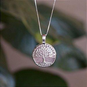 Colar árvore da vida pedra natural quartzo rosa prata 925