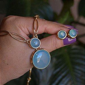 Colar e brinco pedra natural ágata azul céu ouro semijoia