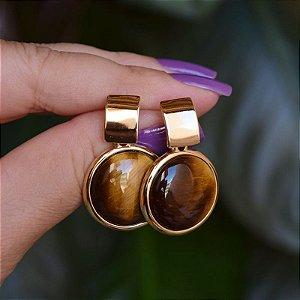 Brinco pedra natural olho de tigre ouro semijoia